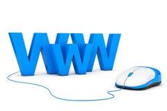 Hintergrund der blauen Farbe WWW-Zeichen angeschlossen an Computermaus Stockfotos