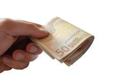 Hintergrund der Eurorechnungen Zeit im Geld Stockbilder