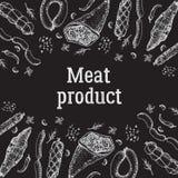 Hintergrund der Fleischware mit Gewürzen Nahrung Lizenzfreie Stockbilder