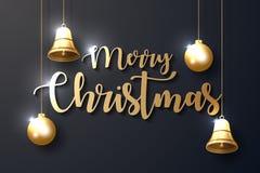 Hintergrund der frohen Weihnachten mit glänzenden Goldverzierungen stock abbildung