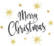 Hintergrund der frohen Weihnachten mit goldenen Schneeflocken Stockbild