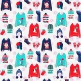 Hintergrund der frohen Weihnachten mit netten hässlichen Strickjacken lizenzfreie abbildung