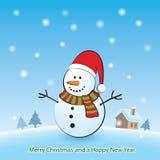 Hintergrund der frohen Weihnachten mit Schneemann Lizenzfreies Stockfoto