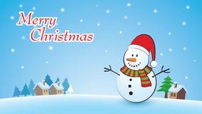 Hintergrund der frohen Weihnachten mit Schneemann Lizenzfreie Stockbilder