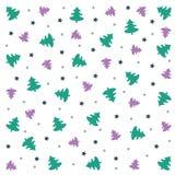 Hintergrund der frohen Weihnachten: Tapete mit Bäumen und Sternen Stockbild