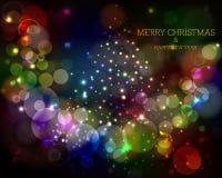 Hintergrund der frohen Weihnachten und des glücklichen neuen Jahres Stockfotografie