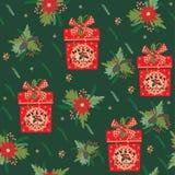 Hintergrund der frohen Weihnachten und des glücklichen neuen Jahres Nahtloses Muster Stockfotografie