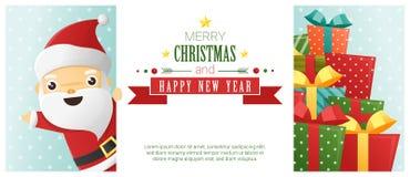 Hintergrund der frohen Weihnachten und des guten Rutsch ins Neue Jahr mit Santa Claus, die hinter Anschlagtafel steht stock abbildung