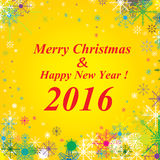 Hintergrund 2016 der frohen Weihnachten und des guten Rutsch ins Neue Jahr Schnee auf Goldhintergrund Lizenzfreie Stockfotos