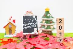 Hintergrund der frohen Weihnachten und nummerieren 2017 t Lizenzfreies Stockfoto