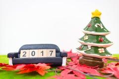 Hintergrund der frohen Weihnachten und nummerieren 2017 t Lizenzfreies Stockbild
