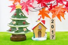 Hintergrund der frohen Weihnachten und nummerieren 2017 t Stockbilder