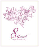 Hintergrund der glücklichen Frauen Tagesmit Frühlingsblumen Rosa vektorabbildung Stockfoto