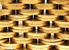 Hintergrund der Kupfermünzen Stockbilder