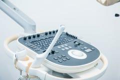 Hintergrund der medizinischen Ausrüstung, Nahaufnahmeultraschallmaschine Selektiver Fokus Lizenzfreie Stockbilder