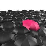 Hintergrund der Regenschirme mit einem einzelnen roten Regenschirm lizenzfreie abbildung