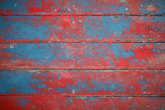 Hintergrund der roten und blauen gemalten Vorstände Stockfotos