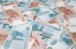 Hintergrund der russischen Rubelrechnungen Stockbilder