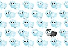Hintergrund der Schafe mit schwarzen Schafen Lizenzfreie Stockbilder