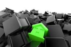 Hintergrund der umweltgerechten Häuser Stockfotos