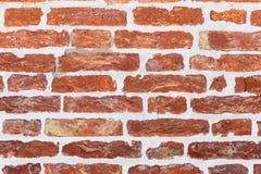Hintergrund der Wand des roten Backsteins und des grauen Mörsers Lizenzfreies Stockbild