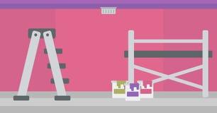 Hintergrund der Wand mit Farbendosen und -leiter Stockfotos
