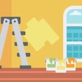 Hintergrund der Wand mit Farbendosen und -leiter Lizenzfreie Stockfotos