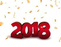 Hintergrund der Zahlen 3d des neuen Jahres 2018 mit Konfettis 2018 goldene Konfettis der Feiertagsfeier-Karte auf Weiß Lizenzfreie Stockfotos