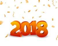 Hintergrund der Zahlen 3d des neuen Jahres 2018 mit Konfettis 2018 goldene Konfettis der Feiertagsfeier-Karte auf Weiß Stockfoto