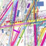 Hintergrund der Zusammenfassung 3 D wird aus bunten Linien und geometrischen Formen verfasst lizenzfreie abbildung