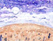 Hintergrund des Aquarellnächtlichen himmels mit Vollmond und Sternen Handgezogene sternenklare Himmelillustration stock abbildung