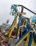 Hintergrund des Bandes in der ukrainischen Farbe Lizenzfreies Stockfoto