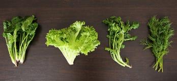 Hintergrund des biologischen Lebensmittels Frühlingsvitaminsatz verschiedene grüne Blattgemüse auf rustikalem Holztisch Frischer  Lizenzfreies Stockfoto