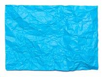 Hintergrund des Blau zerknitterten Blattes Papier Lizenzfreie Stockfotos