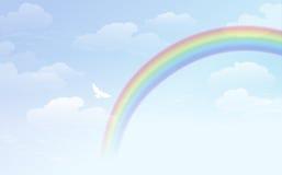 Hintergrund des blauen Himmels mit Regenbogen und Weiß tauchte Stockfotos