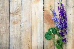 Hintergrund des Brettes mit Blumen Stockfotografie