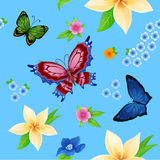 Hintergrund des bunten Schmetterlingsfliegens Stockfoto