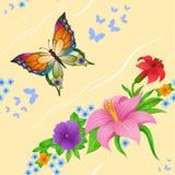 Hintergrund des bunten Schmetterlingsfliegens Lizenzfreies Stockbild