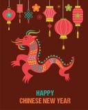 Hintergrund des Chinesischen Neujahrsfests mit rotem Drachen Lizenzfreie Stockfotos
