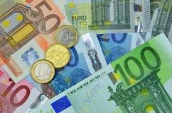 Hintergrund des Eurogeldes Stockbilder
