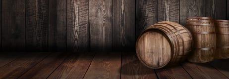 Hintergrund des Fasswhisky-Weinkellereibieres Lizenzfreies Stockbild