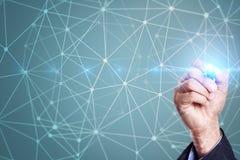 Hintergrund des Fliegennetz-Bereichs 3D Geschäftstechnologie und Internet-Konzept Stockbild