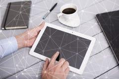 Hintergrund des Fliegennetz-Bereichs 3D Geschäftstechnologie und Internet-Konzept Moderne Schnittstelle des virtuellen Schirmes Lizenzfreie Stockfotografie