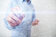 Hintergrund des Fliegennetz-Bereichs 3D Geschäftstechnologie und Internet-Konzept Moderne Schnittstelle des virtuellen Schirmes Stockfotos