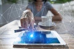 Hintergrund des Fliegennetz-Bereichs 3D Geschäftstechnologie und Internet-Konzept Moderne Schnittstelle des virtuellen Schirmes Stockbilder