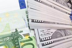 Hintergrund des Geldes Euro und Dollar Stockfoto