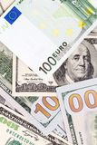 Hintergrund des Geldes Euro und Dollar Lizenzfreies Stockfoto