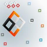 Hintergrund des geometrischen Designs mit der Zusammensetzung mit drei Maßen mit bunten Quadraten Stockbilder