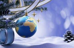 Hintergrund des glücklichen neuen Jahres und der frohen Weihnachten Stockfotografie