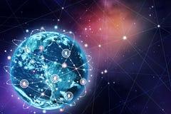 Hintergrund des globalen Netzwerks lizenzfreie stockfotografie